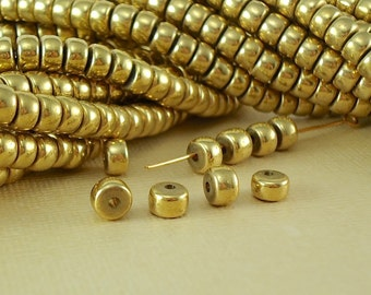 100 Brass Beads Rondelle Crow Disc raw brass metal beads Spacer 5.5 - 6mm x 4mm BOHO Quality Solid Brass Natural Beads