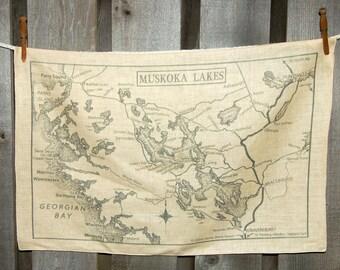 Muskoka Lakes Canada Vintage Map Tea towel - FREE SHIPPING
