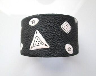black and White Cuff Bracelet, Handmade Bracelet, Polymer Clay Bracelet, Cuff Bracelet, Jewelry, Gift for Her, Mom Gift
