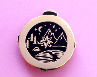 Compass pin Compass enamel pin Enamel pin Mountain pin Wanderlust gift Adventure awaits Camping pin Adventure pin Hiking pin Explore pin