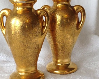 Vintage Stouffer Gold China Salt Pepper Shakers