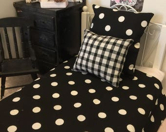Doll Reversible Black and White Polka Dot Bedspread, Euro Sham and Butfalo Check Accent pillow-18 inch doll bedsize