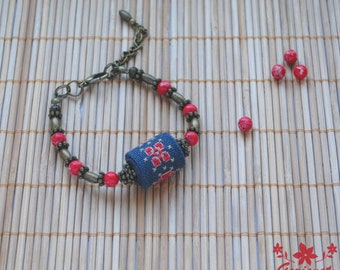 Bohemian bracelet Bead embroidery jewelry Statement jewelry for women Serpentine bead bracelet Bohemian jewelry Stone jewelry gift for her