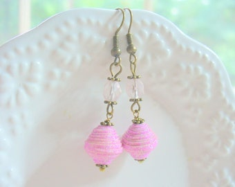 Pink Paper Beads, Pink Sparkle Earring, Long Dangle Earring, Paper Bead, Pink and Bronze Earring, DLAbeaddesign, Gift for Her, Wedding, OOAK