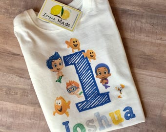 Bubble Guppies birthday shirt with name for boy or girl