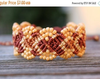 SALE REDUCED Micro-Macrame Beaded Cuff Bracelet - Golden Brown and Tan