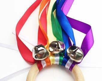 Rainbow Hand Kite with Bells