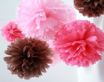 50 Medium Tissue Paper Pom Poms - Choose Your Colors - Fast Shipping
