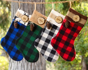 Personalized Christmas Stocking Family Christmas Stockings Buffalo Plaid Flannel Christmas Stocking Wood Slice Name Tag Redwood Cone Rustic