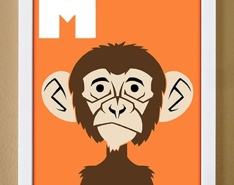 alphabet letter M, monkey, custom colors, children's letter print, nursery art, undersea nursery, 4X6, 5X7, 8X10