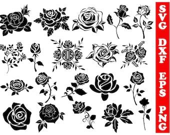 Roses svg, roses dxf, cricut rose, rose silhouette, roses clipart, svg shirts, svg cameo, valentines svg, patterns, flower svg, stencils svg