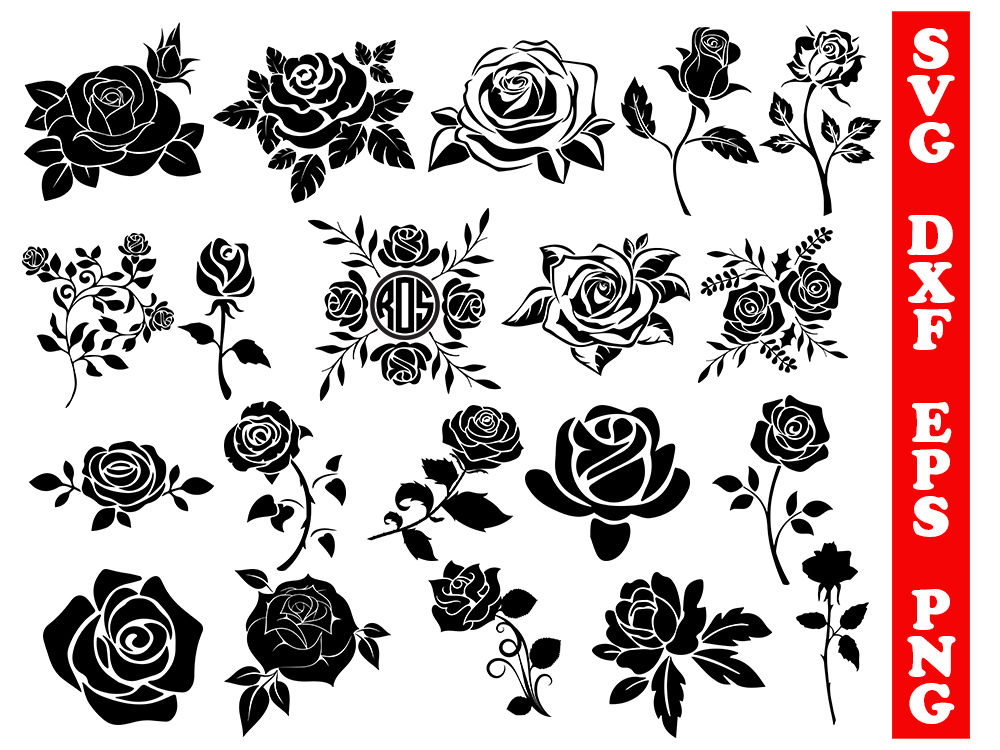Download Roses svg, roses dxf, cricut rose, rose silhouette, roses ...