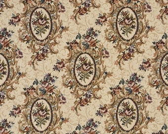 Burgundy Beige And Green Floral Bouquet Tapestry Upholstery Fabric By The Yard | Pattern # F665