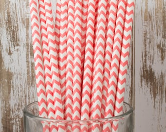 25 Ct Coral Chevron vintage striped paper drinking straws - with FREE DIY Flag Template