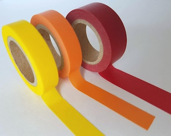 Solid Color Washi Yellow Orange Dark Red - Full Roll