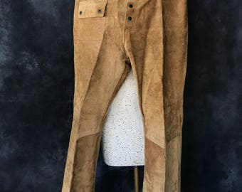 Vintage 1960's 1970's chamois tan suede pants Head Northwest size 34x34