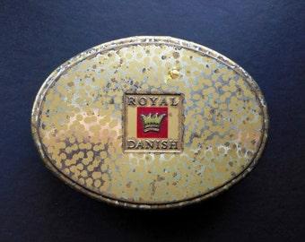 SALE Vintage Tobacco Tin Box Metal Case Royal Danish Pipe Smoking Collectibles