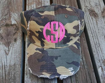 Monogrammed Ball Cap | Monogrammed Baseball Cap | Vintage Cap | Distressed Baseball Cap | Gifts under 20 | Gift for her | Camouflage Cap