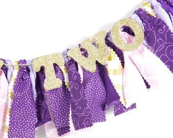 Princess Birthday Banner - Highchair banner - Purple, Pink & Gold Banner for Girl's Birthday Party - Rag Banner - Garland - Photography Prop
