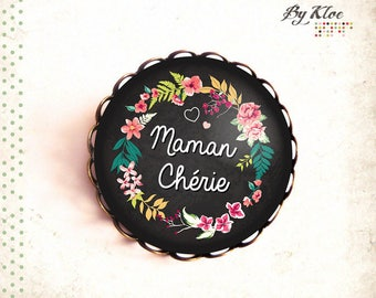 Customizable • Mommy • Cabochon brooch pink yellow green flower glass