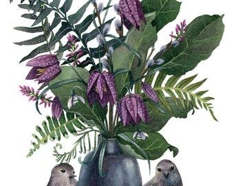 Fine Art Print of Original Watercolor Painting - Fritillaria Friends