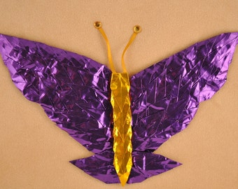 Purple and Gold Butterfly on Cream Origami Crane Art 8x10
