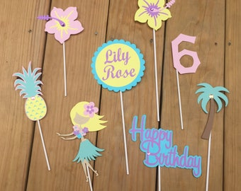 8 Piece Luau Centerpiece sticks, Luau party, Hula party, Luau decorations, Hula decorations, Luau birthday; Luau decorations; Hawaiian theme