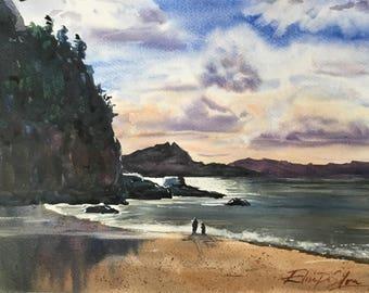 "Original Watercolour Painting Art ""Cook's Beach"" by Elise De Silva"