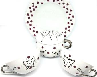Porcelain coffee or tea set, couple of cats, pink polka dots, tribe of cats