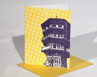Baltimore Letterpress Card   Patterson Park Pagoda   purple & yellow single blank card with envelope