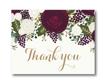 Vintage Wedding Thank You Card, Fall Wedding, Vintage Floral, Floral Wedding, Vintage Wedding, Wedding Thanks, Thank You Card #CL158