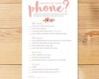 Printable Bridal Shower Game | What's In Your Phone? | Peachy Watercolor Flowers | Digital Download