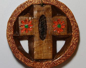 Hand-Carved Wood Holiday ornament