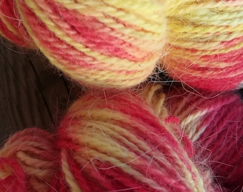 french angora merino yarn yellow red for knitting crocheting