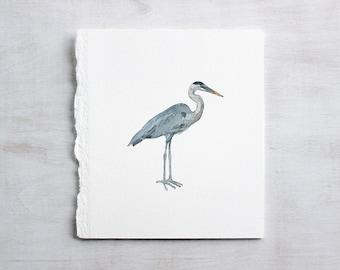 Great Blue Heron Original Watercolor Painting, miniature bird art