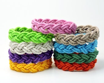 Narrow Nantucket Style Rope Bracelet 9 Tropical  Colors