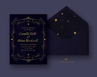 Castlefield Celestial Star Faux Gold Foil Wedding Event Invitation RSVP Name Card Envelope Liner Table Numbers Customized Printable Luxury