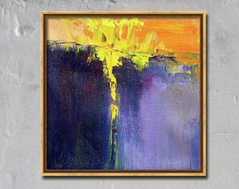 Textured, Abstract, Oil Painting, Modern, Ultraviolet, Yellow, Orange, Purple, 6x6 Canvas, Expressionist, Semi Abstract, Landscape