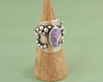 Purple Opal Ring, Sterling Silver Ring