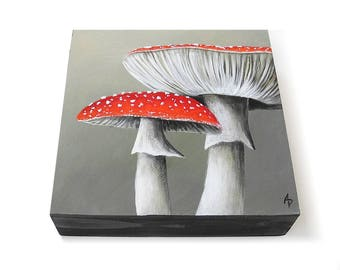 Toadstool painting - realistic mushroom art - white and red toadstools - fairy circle - garden painting - fungi art - nature painting