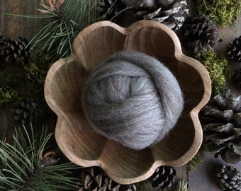 Wool roving supply for needle felting, Grey-Brown Heather, 1/2 ounce or 1 ounce, grey wool roving for felting, grey roving for feltmaking
