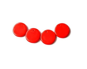 12 Vintage glass beads round disc flat shape 15mm