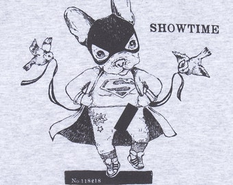 "SWEAT-SHIRT ""Showtime""/bouledogue/ super-héros/ striptease/ Disney/ sweat gris/ illustration marrante/  oldschool sweat/ Paris"