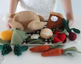 Felt Food Felt Whole Turkey With Detachable Parts Pretend Food Thanksgiving Holiday Play Set