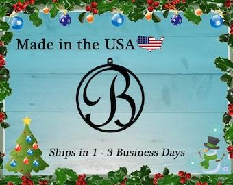 "4"" Monogram Christmas Ornament, Christmas Present, Ornament, Personalized Gift, Tree Decoration, Christmas Decoration, Holiday Decor, RO1001"