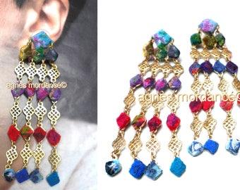 "Earrings, felted silks, 9cm long, unique piece, ""Indiana"""