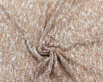 Tri Tone Orange Black White Soft Sweater Knit Fabric by the yard - 1 Yard Style 6226
