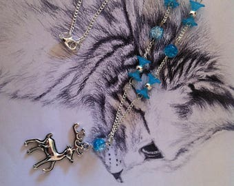 "Necklace ""Rudolph"" Winter blue"