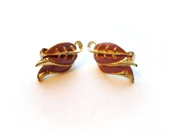 Vintage Coro Signed Gold Leaves with Purple Enamel Clip On Earrings
