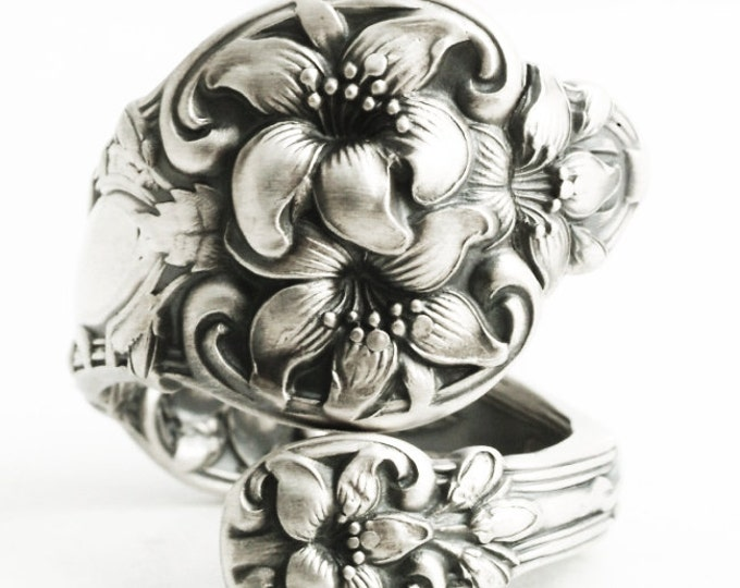 Orange Blossom Ring, Sterling Silver Spoon Ring, Orange Blossom Wedding, Flower Ring, Silver Floral Ring, Adjustable Ring Size, Alvin (5846)